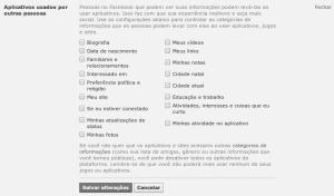 Facebook informações disponiveis para aplicativos de outras pessoas