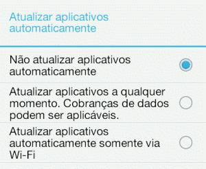 Configuração android - atualizar aplicativos