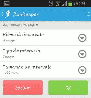 RunKeeper Alterar intervalos de exercícios