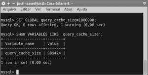 screenshot mysql set global query_cache_size