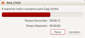 Audacity - janela de progresso da exportação de um arquivo de áudio em ogg