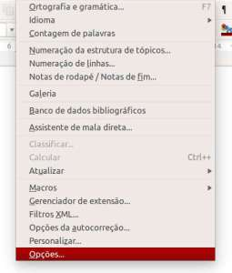 LibreOffice - Menu Ferramentas