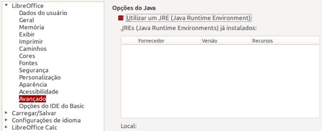 Java no LibreOffice