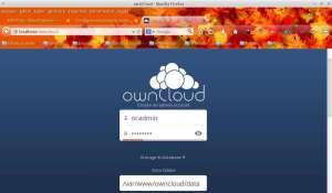 Captura de tela inicial do OwnCloud
