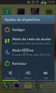 Captura da tela de opções do dispositivo no smartphone