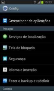 Android menu de configuração do sistema
