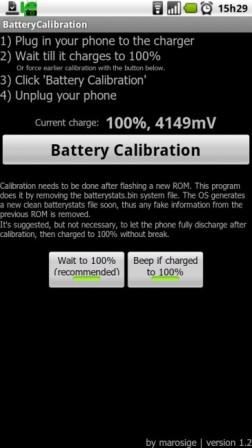 Tela de aplicativo para calibrar bateria.