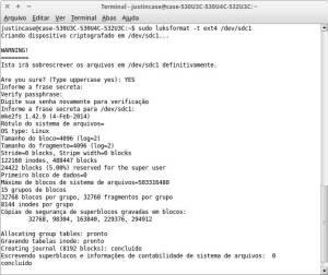captura de tela - comando luksformat formata e encripta uma midia flash