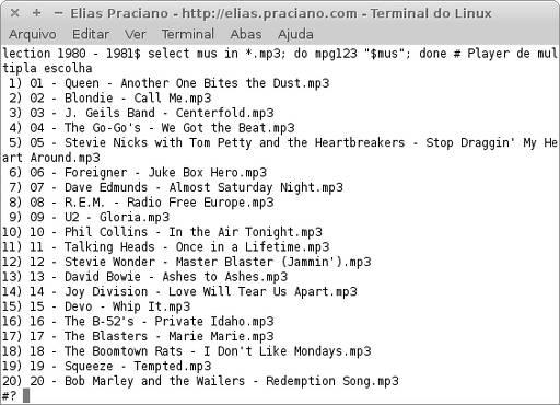 comando selecto e mpg123 para escolher músicas mp3