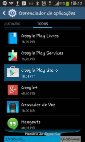 Android Gerenciador de aplicações - Google Play Store
