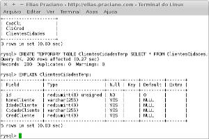 Captur de tela - mysql create temporary table