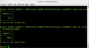 Exemplo de uso de SELECT COUNT FULLTEXT no MySQL