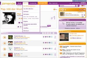 captura de tela do site do jamendo