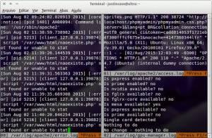 multitail -s 2 /var/log/apache2/error.log /var/log/apache2/access.log /var/log/gpu-manager.log