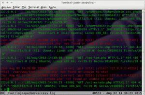 multitail -ci green /var/log/apache2/access.log -ci red -I /var/log/apache2/error.log