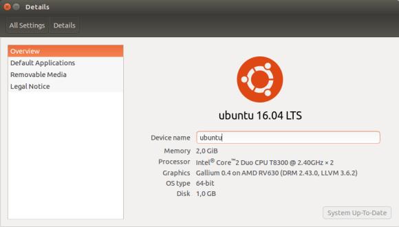 Ubuntu 16.04 screenshot details
