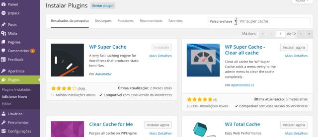 Catptura de de tela do painel administrativo WordPress