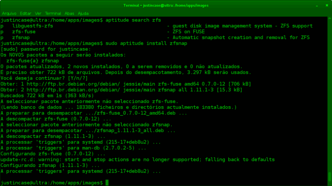 instalar sistema de arquivos zfs no debian