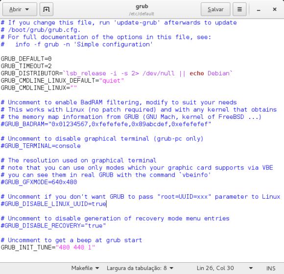 Configure GRUB 2 /etc/default/grub file