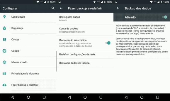 Como ativar o backup nativo do Android