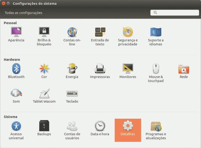 ubuntu 16.04 lts xenial xerus painel de configuração do sistema