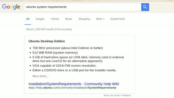 Ubuntu prerrequisitos do sistema - busca no Google