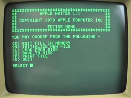 monitor apple II Writer 1.1