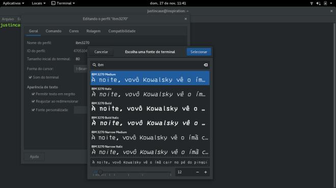 lista de fontes do gnome terminal