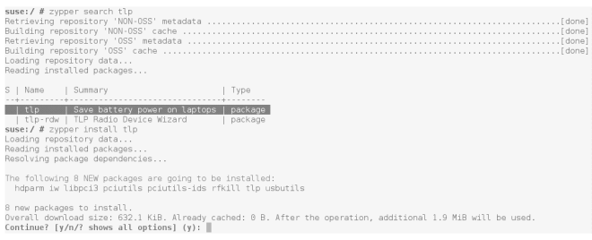 opensuse zypper search install tlp