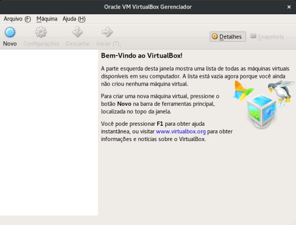 virtualbox welcome screen
