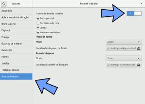 gnome-tweak-tool ativar ícones na área de trabalho
