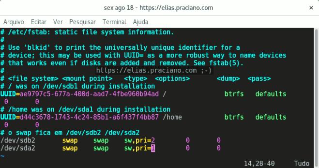 configuração do swap no linux fstab