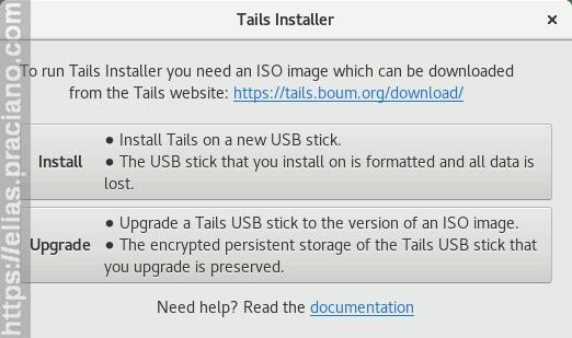 tails-installer instalação ou atualização