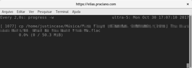 captura de tela progresso do comando de cópia no Linux