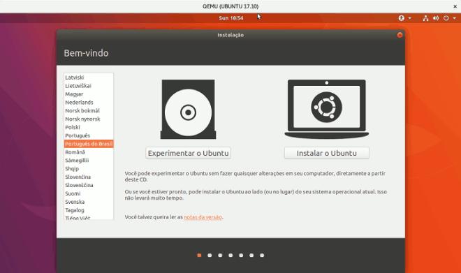 Ubuntu 17.10 tela inicial