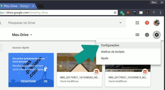 configurações do google drive