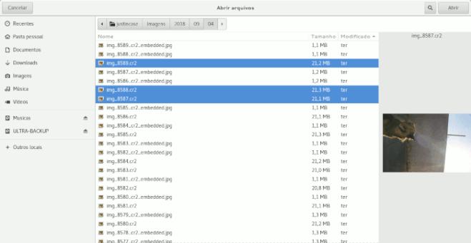 seleção de arquivos no gerenciador de arquivos