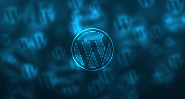 Wordpress logo against blue background