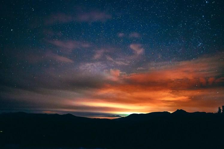 Where day meets the night - Night falls near lake Winnemucca, Kirkwood, CA