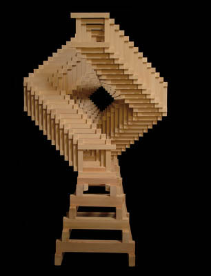 Two helical pieces intricately threaded together & placed on a stand, which incorporates invisible sliding groves to allow for a total estimated himidity-driven expansion and contraction of 5/8