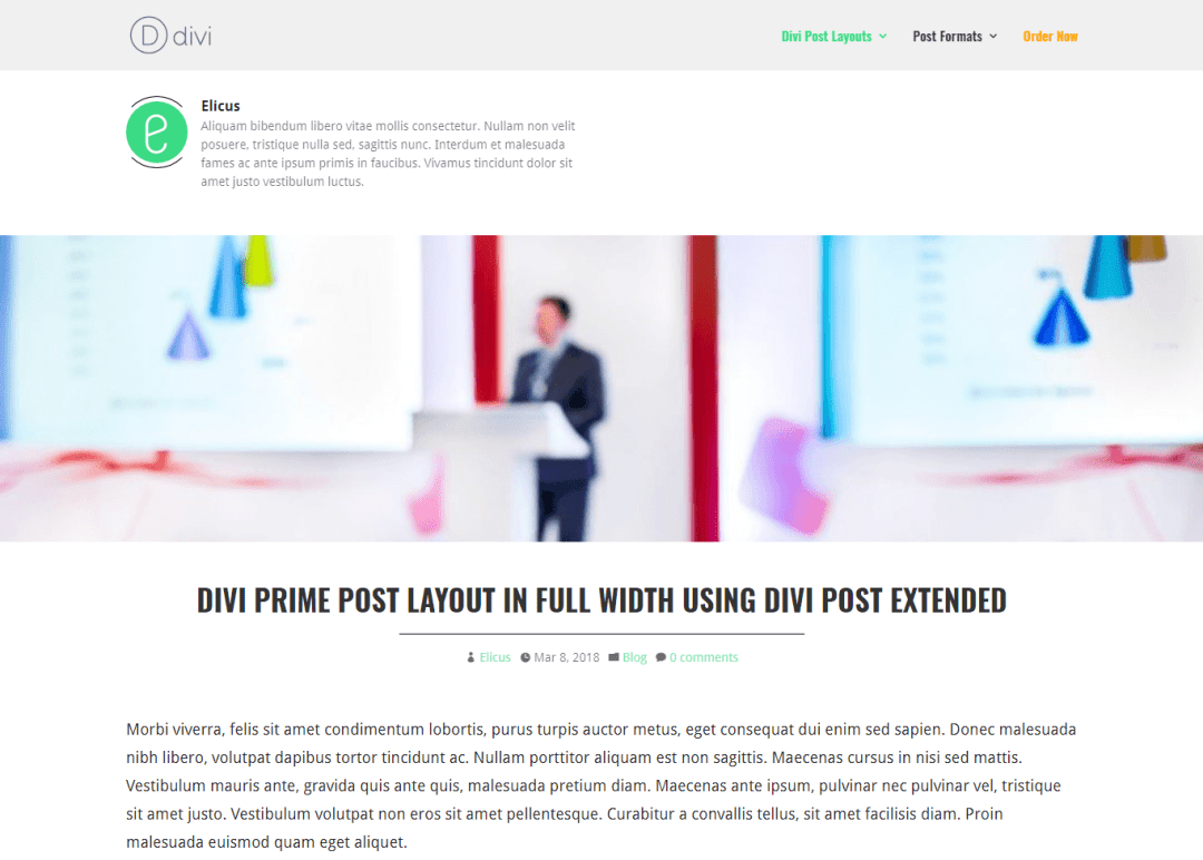 Divi Prime Post Layout