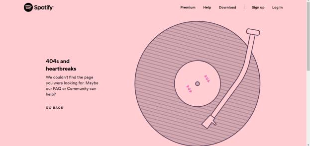 Spotify 404 page 2019