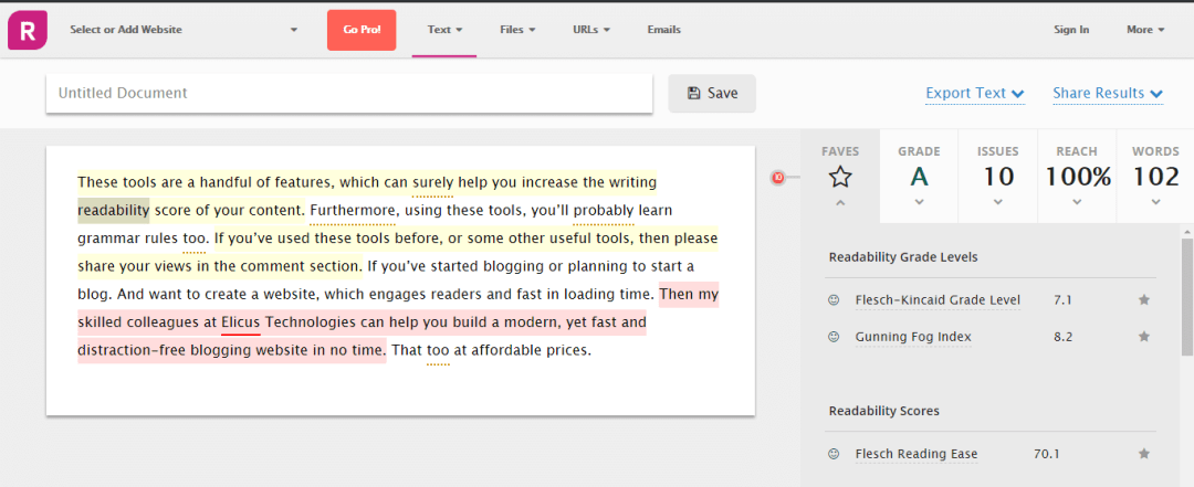 Writing tool app.readable