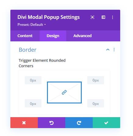 Border settings in the design tab