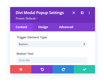Button Trigger Element and its more option in the Content tab as compared to Divi Overlays