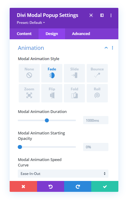 Divi Modal Popup Animation effects the same as Divi Overlays