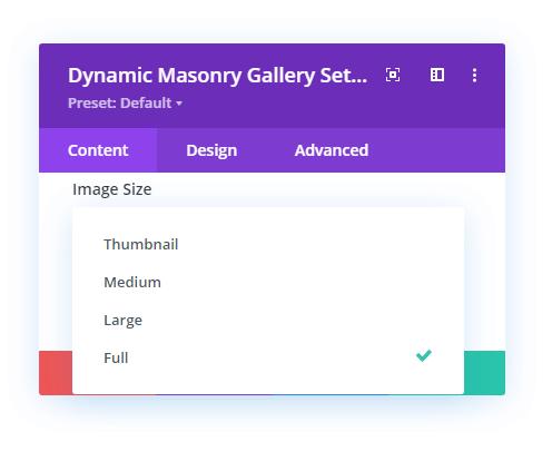 Dynamic masonry gallery module and size options