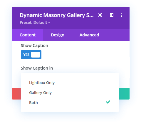 Gallery image caption option in Divi Gallery Extended plugin