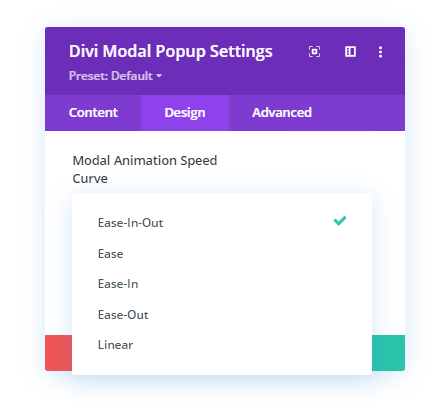 Modal Animation Speed Curve effects