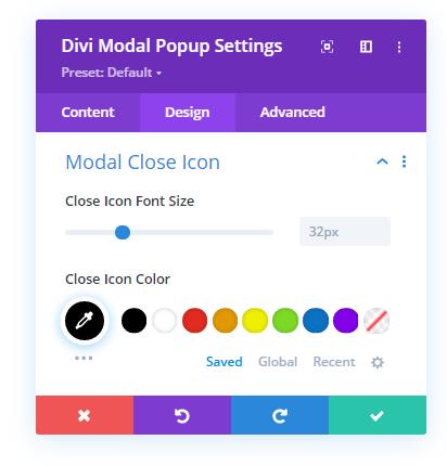 Modal Close Icon settings in the Design tab